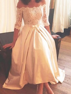 A-Line Off-the-Shoulder Asymmetrical Sweep/Brush Train Lace Satin Wedding Dress