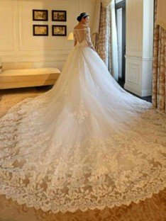 Ball Gown Off-the-Shoulder Cathedral Train Tulle Wedding Dress