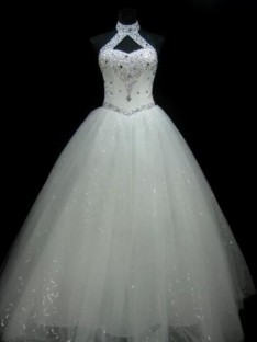 Ball Gown Halter Floor-Length Sequin Tulle Wedding Dress