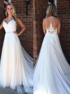 A-Line Scoop Court Train Tulle Wedding Dress