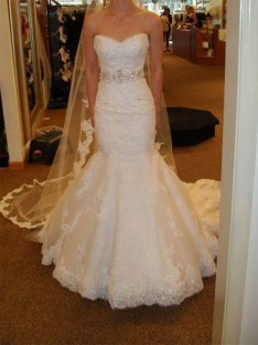 Mermaid Sweetheart Court Train Lace Tulle Wedding Dress