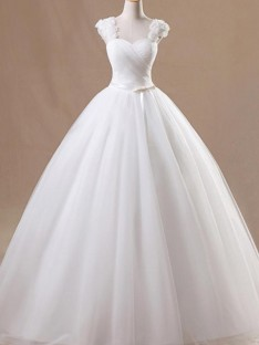 Ball Gown Square Floor-Length Tulle Wedding Dress