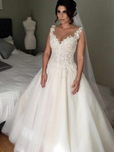 Ball Gown V-neck Court Train Lace Tulle Wedding Dress