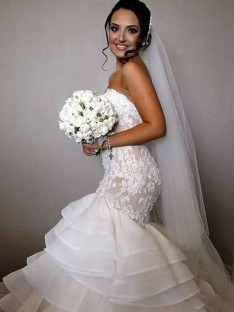 Mermaid Sweetheart Chapel Train Lace Organza Wedding Dress