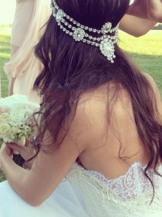 A-Line Sweetheart Tulle Lace Court Train Wedding Dress