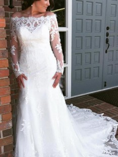 Mermaid Tulle Off-the-Shoulder Cathedral Train Wedding Dress