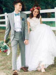 Ball Gown Bateau Tulle Court Train Wedding Dress