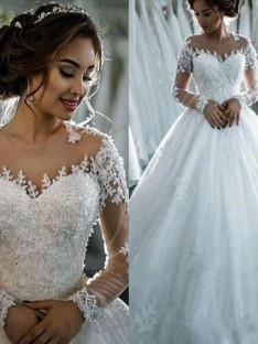Ball Gown Tulle Scoop Court Train Wedding Dress