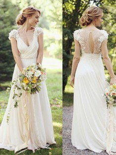 A-Line Chiffon V-neck Sweep/Brush Train Wedding Dress
