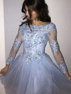 A-Line Off-the-Shoulder Tulle Short Dress