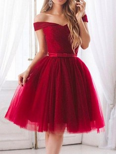 A-Line Tulle Off-the-Shoulder Short Dress