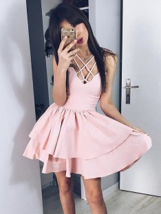 A-Line Satin Spaghetti Straps Short Dress
