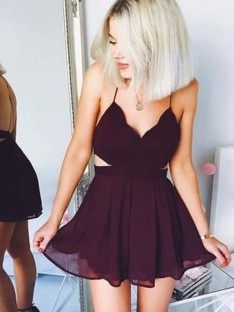 A-Line Spaghetti Straps Chiffon Short Dress