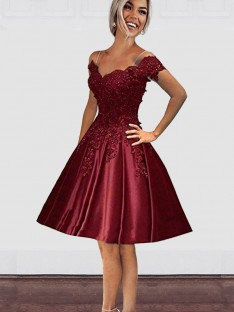fbb985007c2 A-Line Off-the-Shoulder Satin Knee-Length Dress
