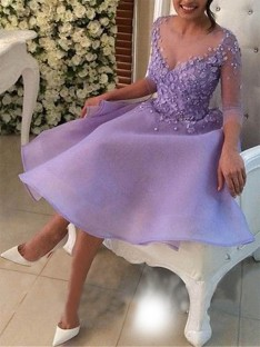 A-Line V-neck Organza Knee-Length Dress