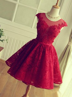 A-Line Jewel Lace Short Dress
