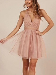 A-Line Halter Tulle Short Dress