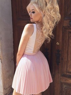 A-Line Satin Pleats V-neck Short Dress