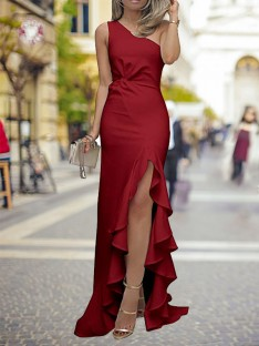 Sheath One-Shoulder Sweep/Brush Train Satin Dress