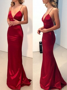 Sheath Spaghetti Straps V-neck Sweep/Brush Train Satin Dress