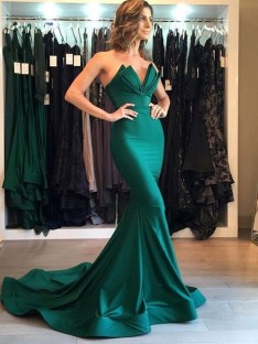 Mermaid V-neck Court Train Satin Dress