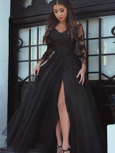 Ball Gown Long Sleeves Off-the-Shoulder Sweep/Brush Train Lace Dress