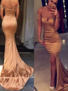 Mermaid Off-the-Shoulder Court Train Satin Dress