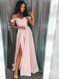 A-Line Off-the-Shoulder Sweep/Brush Train Satin Dress