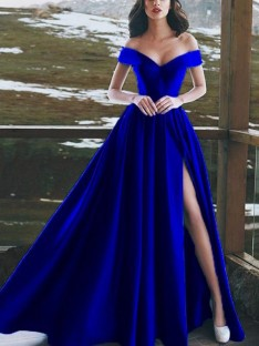 A-Line Off-the-Shoulder Floor-Length Satin Dress