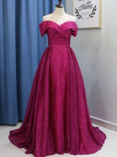Ball Gown Off-the-Shoulder Sweep/Brush Train Sequins Dress