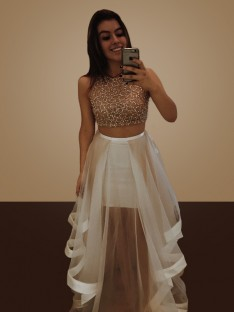 A-Line Halter Floor-Length Organza Two Piece Dress