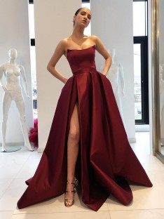 Ball Gown Strapless Sweep/Brush Train Satin Dress