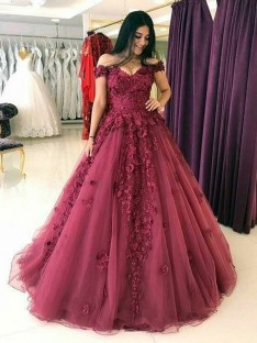 Ball Gown Off-the-Shoulder Sweep/Brush Train Tulle Dress