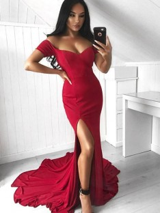 Mermaid Off-the-Shoulder Court Train Elastic Woven Satin Dress