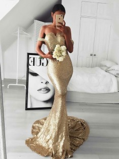 Mermaid Off-the-Shoulder Sweep/Brush Train Sequins Dress