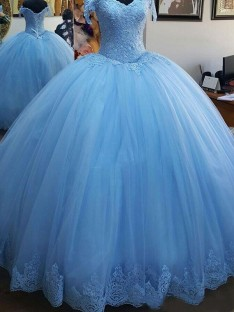 Ball Gown Off-the-Shoulder Sweep/Brush Train Lace Tulle Dress