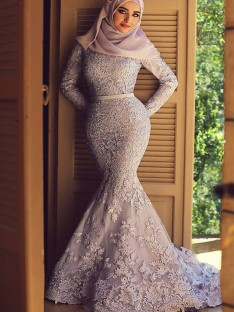 Mermaid Long Sleeves Scoop Sweep/Brush Train Lace Muslim Dress