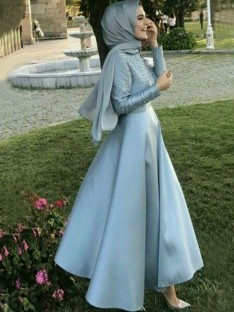 A-Line Long Sleeves Scoop Floor-Length Satin Muslim Dress