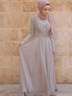 A-Line Long Sleeves Scoop Sweep/Brush Train Tulle Muslim Dress