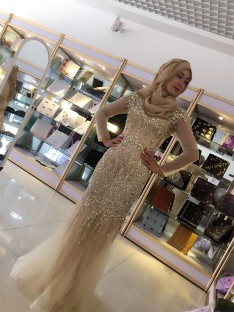 Sheath Long Sleeves Scoop Floor-Length Sequin Tulle Muslim Dress
