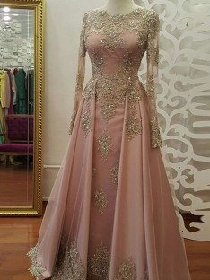 A-Line Long Sleeves Scoop Floor-Length Tulle Muslim Dress