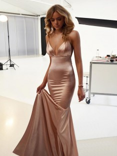 Mermaid Straps Sweep/Brush Train Satin Dress