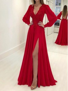 A-Line Long Sleeves V-neck Sweep/Brush Train Chiffon Dress