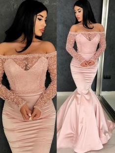Mermaid Long Sleeves Off-the-Shoulder Sweep/Brush Train Satin Dress