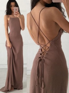 Sheath Straps Sweep/Brush Train Chiffon Dress