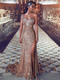 Sheath One-Shoulder Sweep/Brush Train Sequins Dress