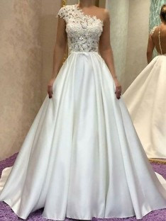 A-Line One-Shoulder Sweep/Brush Train Lace Satin Wedding Dress