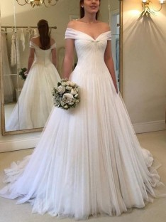 A-Line Off-the-Shoulder Sweep/Brush Train Tulle Wedding Dress