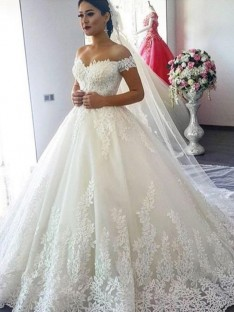 Ball Gown Off-the-Shoulder Sweep/Brush Train Lace Tulle Wedding Dress