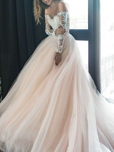 A-Line Off-the-Shoulder Long Sleeves Court Train Tulle Wedding Dress